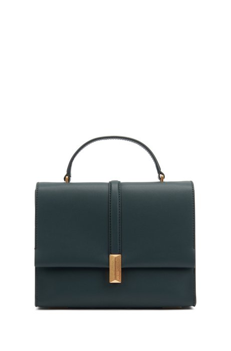 Italian-leather handbag with top handle and signature hardware, Dark Green