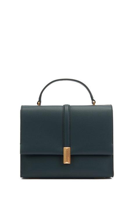 Handtasche aus italienischem Leder mit Tragegriff und charakteristischen Metall-Details, Dunkelgrün