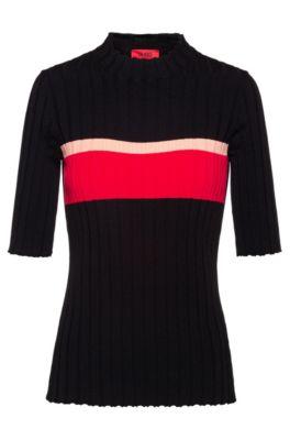 Slim-fit sweater in super-stretch yarn, Black