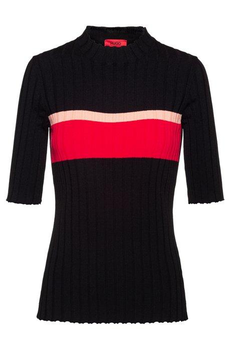 Slim-fit trui van superstretch garen, Zwart