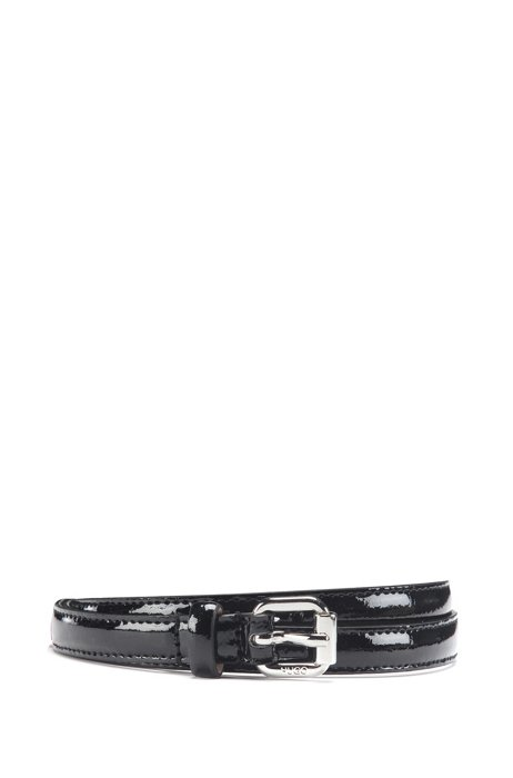 Italian-made belt in patent leather with polished hardware, Black
