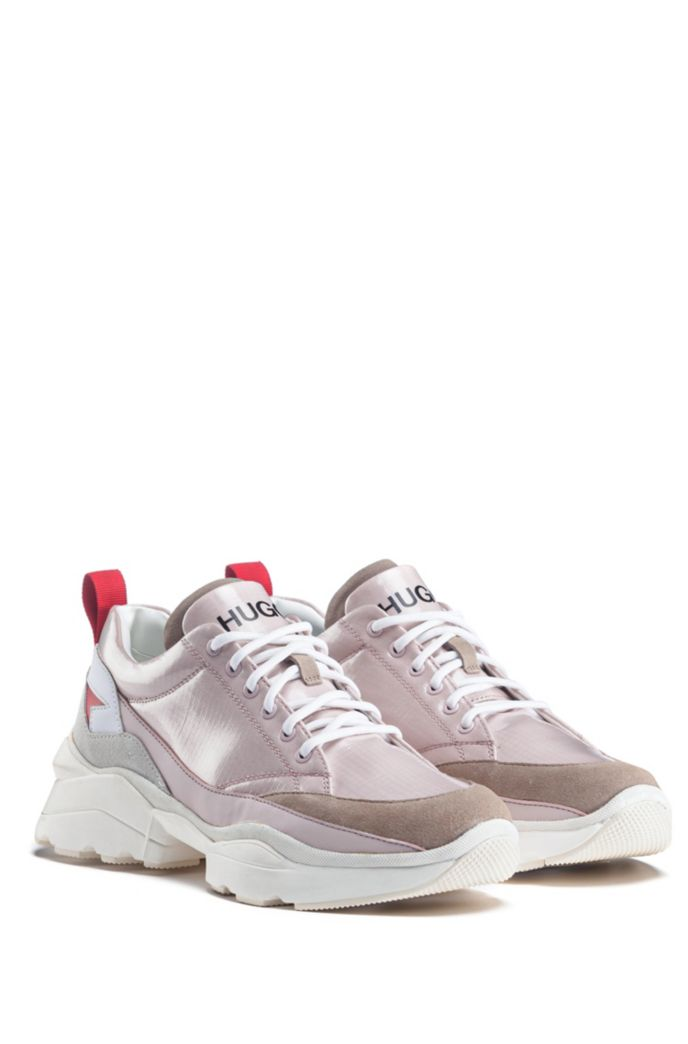 Chunky trainers in mixed materials with double tongue