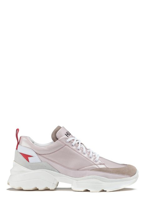 Chunky trainers in mixed materials with double tongue, light pink