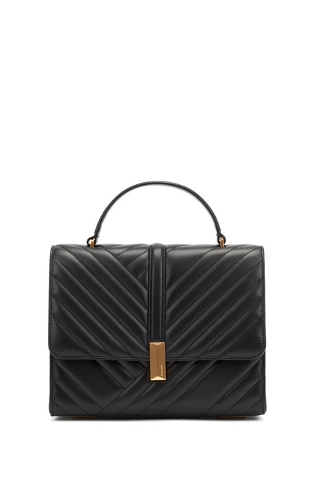 Quilted-leather handbag with signature hardware, Black