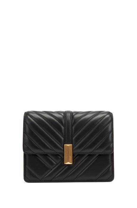 Crossbody bag in quilted leather with signature hardware, Black