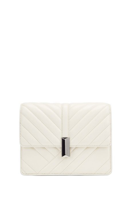 Crossbody bag in quilted leather with signature hardware, White