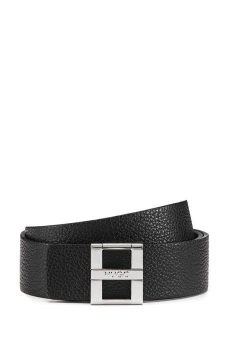 Italian-made leather belt with signature buckle, Black