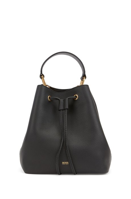Drawstring bucket bag in Italian leather with antique hardware, Black
