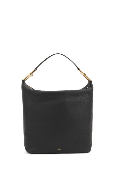 Hobo bag in grained Italian leather with antique hardware, Black