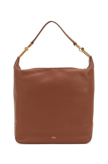Hobo bag in grained Italian leather with antique hardware, Brown