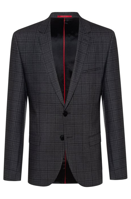 Extra-slim-fit jacket in checked stretch wool, Patterned