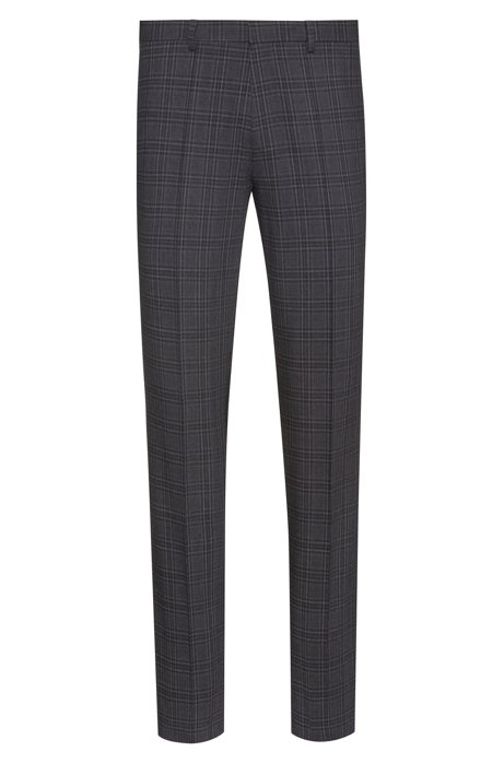 Extra-slim-fit trousers in checked stretch wool, Dark Grey