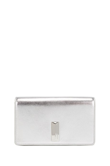 Clutch bag in metallic-laminated Italian leather, Silver