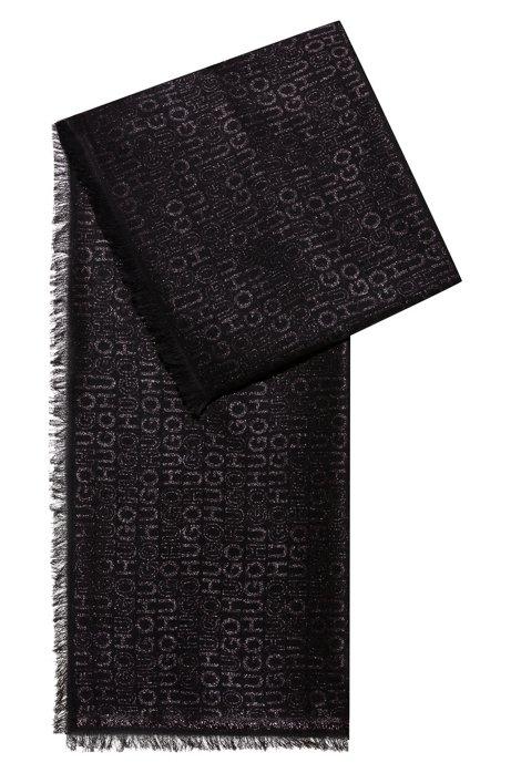 Écharpe en modal mélangé à logos jacquard brillants, Noir