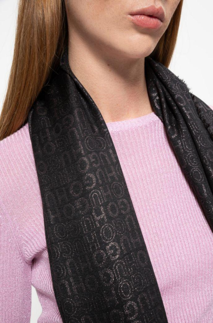 Modal-blend scarf with shiny jacquard logos