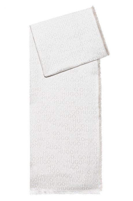 Modal-blend scarf with shiny jacquard logos, Beige