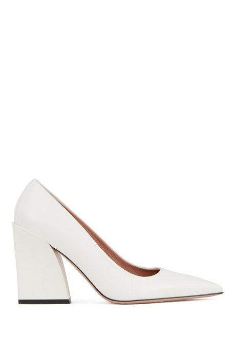 Italian-leather pumps with feature heel, White