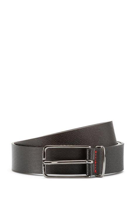 Gürtel aus geprägtem italienischem Leder mit Dornschließe, Schwarz