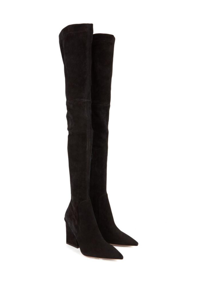 Overknee-Stiefel aus italienischem Veloursleder