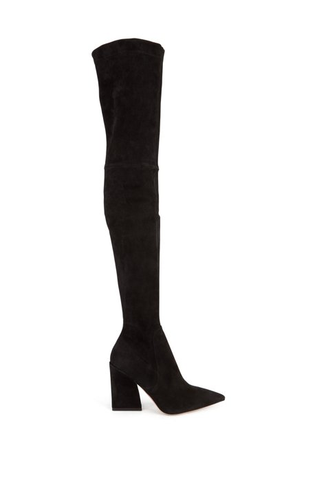 Over-the-knee boots in Italian suede, Black