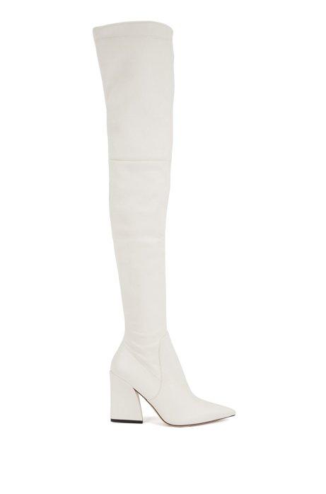 Overknee-Stiefel aus italienischem Leder, Weiß