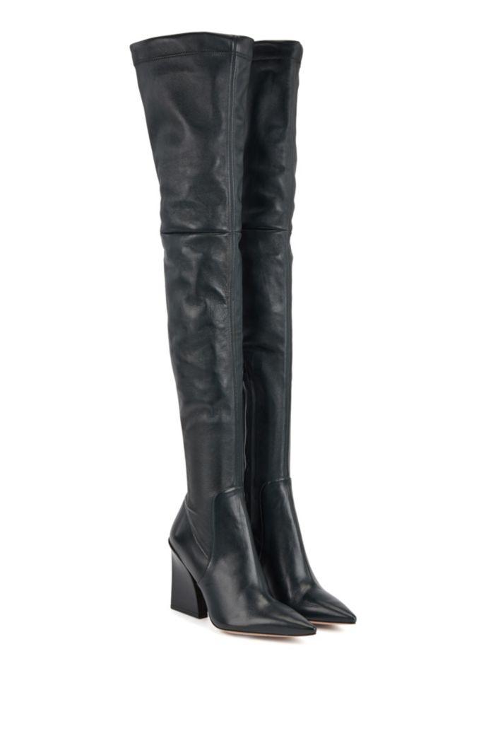 Overknee-Stiefel aus italienischem Leder