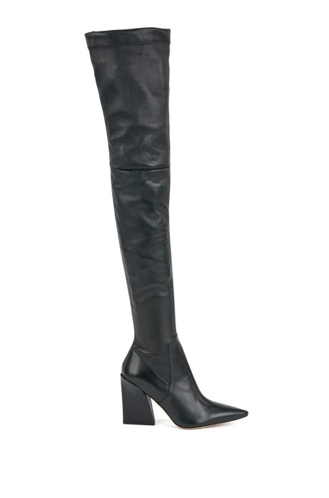 Over-the-knee boots in Italian leather, Dark Green