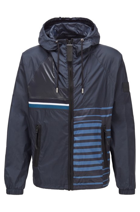 Packable hooded jacket in water-repellent mixed fabrics, Dark Blue