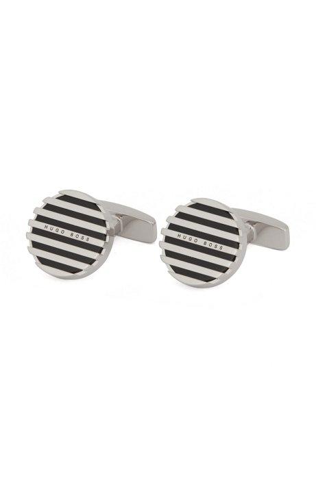 Runde Manschettenknöpfe aus Messing mit Emaille-Streifen, Schwarz