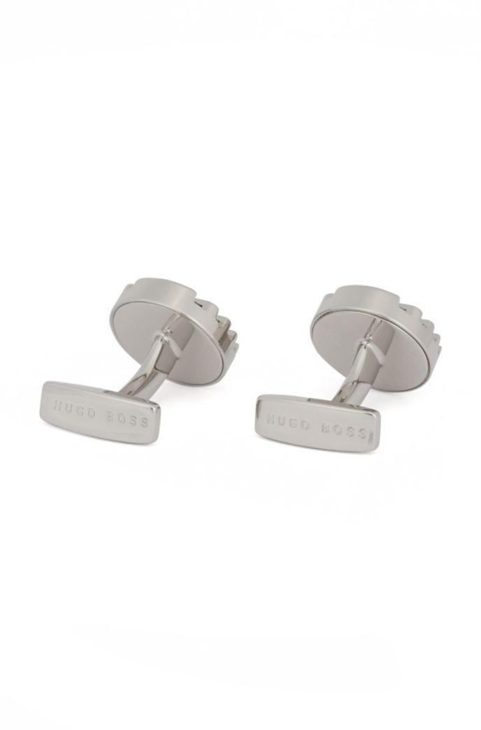Runde Manschettenknöpfe aus Messing mit Emaille-Streifen