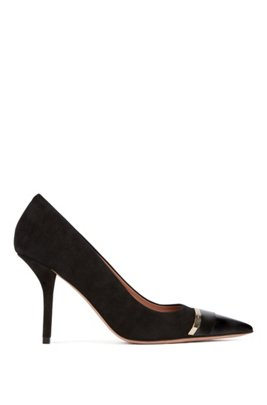 Pumps in suede and patent leather with hardware band, Black