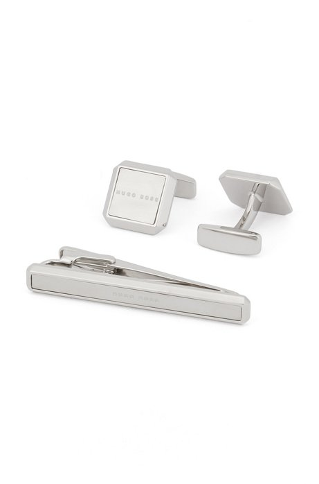Brushed and polished metal cufflinks and tie clip gift set, Silver