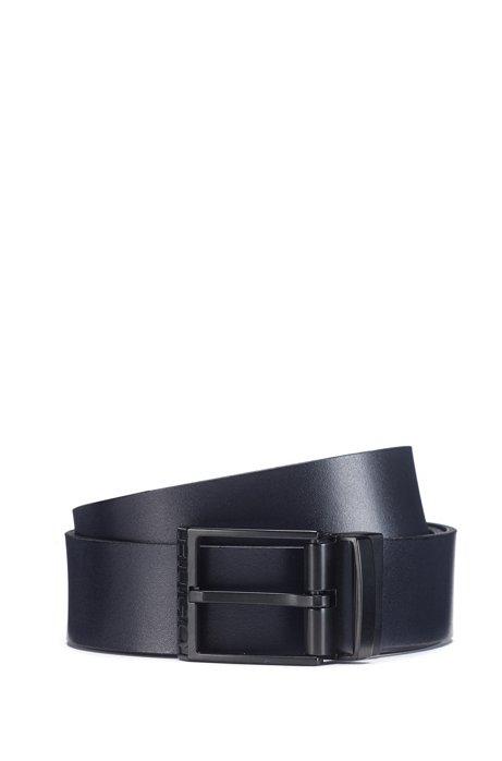 Ceinture réversible confectionnée en Italie avec boucle noire mate, Noir