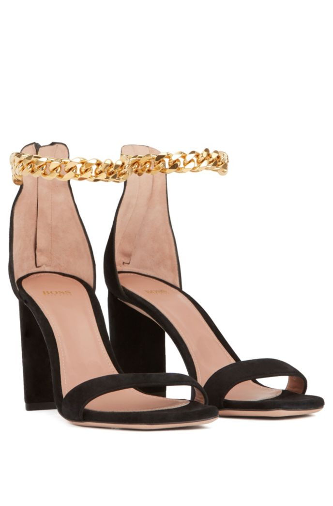 High-heeled sandals in suede with chain ankle strap