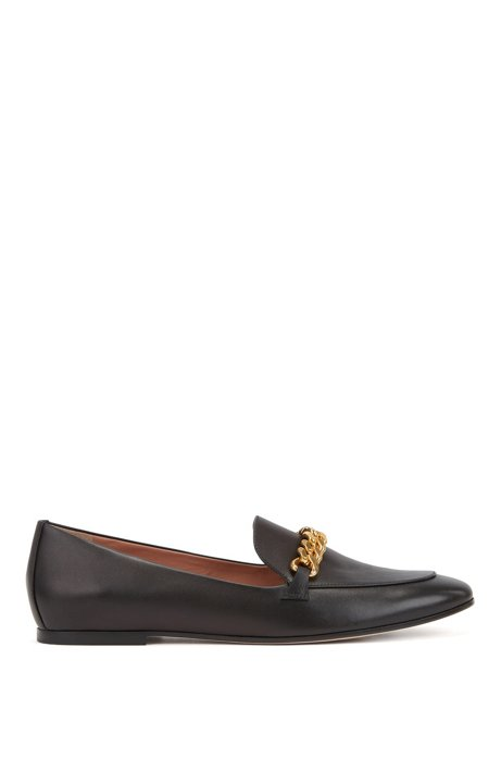 Italian-leather loafers with chain trim , Black