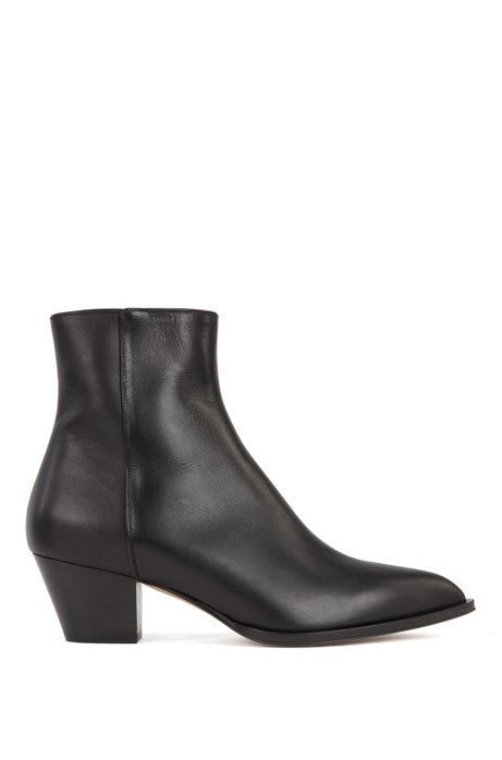 Italian-leather ankle boots with block heel, Black
