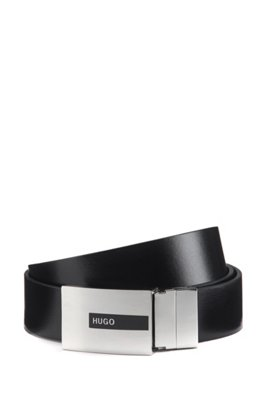 Gift-boxed reversible leather belt with pin and plaque buckles, Black