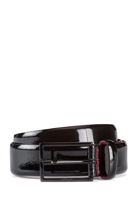 Italian-made belt in patent leather, Black