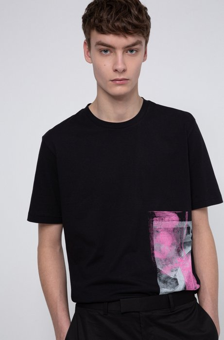 Relaxed-fit T-shirt in cotton with Berlin collection print, Black