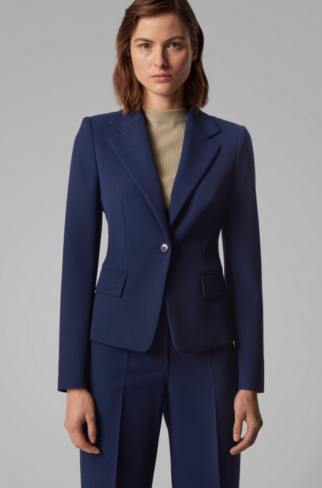 Regular-Fit Blazer aus portugiesischem Stretch-Twill, Blau