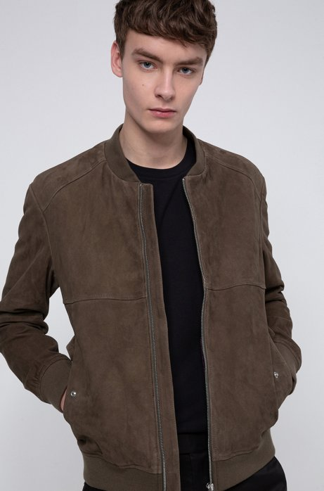 Slim-fit bomber jacket in goat suede, Khaki