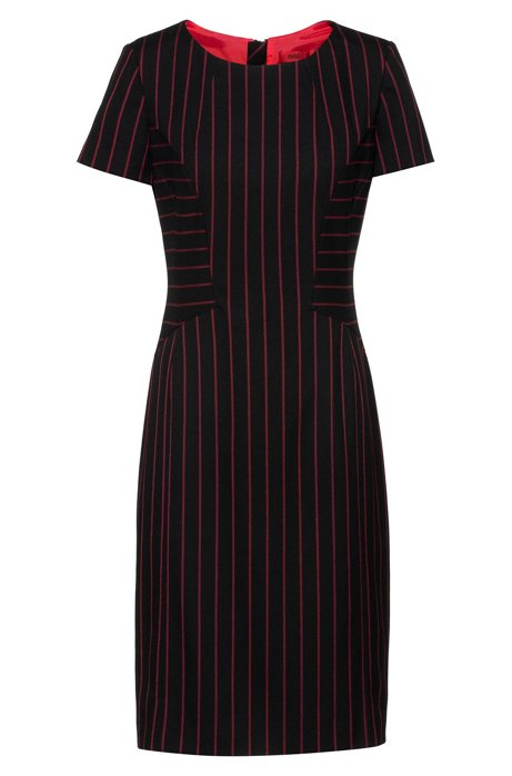 Pencil dress in stretch fabric with vertical stripes, Black