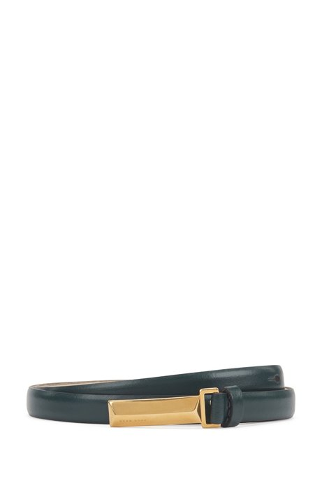 Italian-leather belt with signature hardware, Dark Green