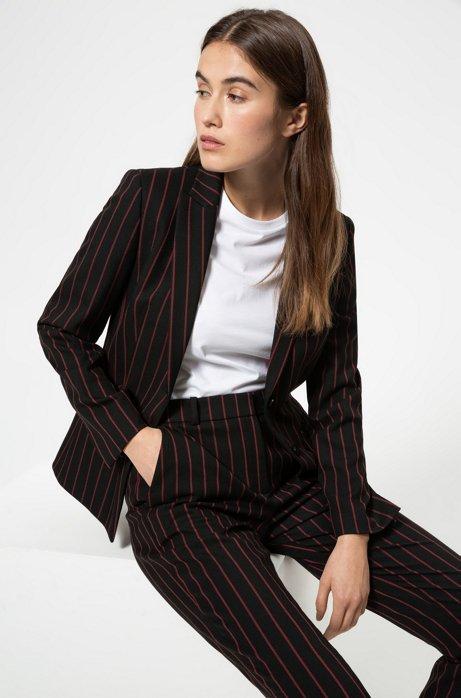 Veste Regular Fit en tissu stretch à rayures verticales, Noir