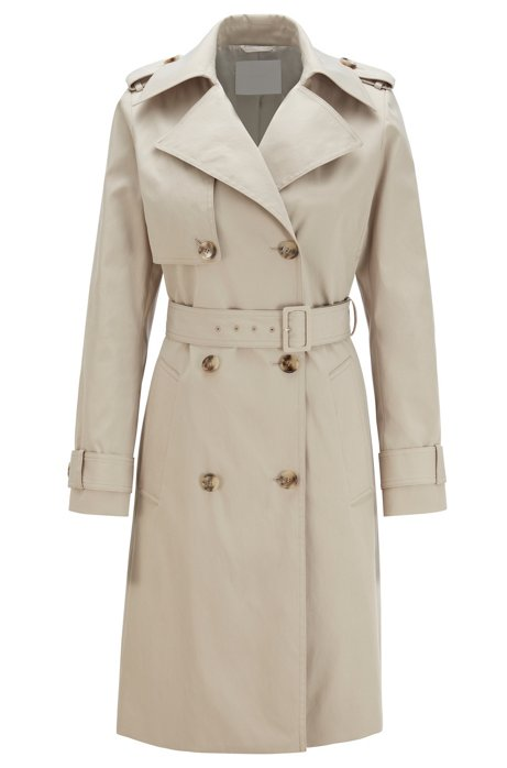 Throw-over-style trench coat in water-repellent twill, Beige