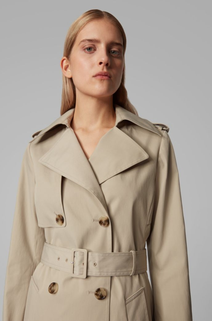 Throw-over-style trench coat in water-repellent twill