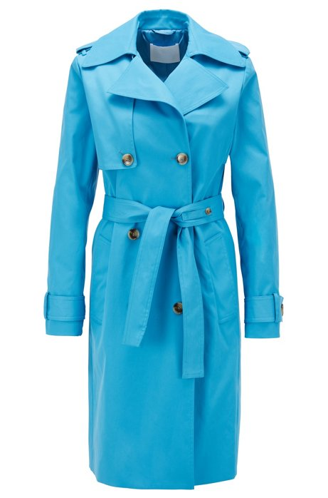 Throw-over-style trench coat in water-repellent twill, Turquoise