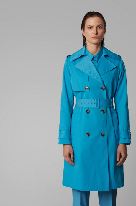 Trench leggero in twill idrorepellente, Turchese