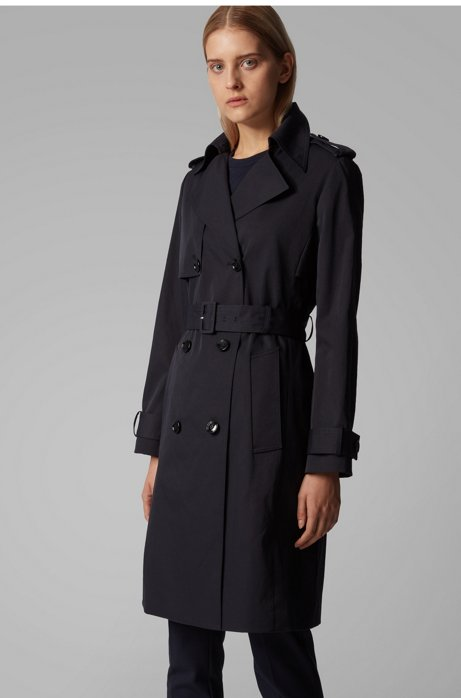 Throw-over-style trench coat in water-repellent twill, Dark Blue