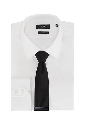 珐琅条纹刻印徽标装饰领带夹,  410_Navy